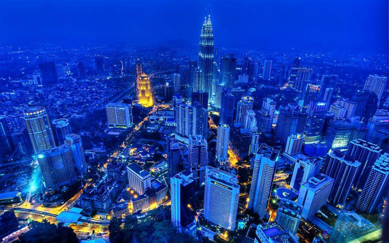 blue cityscapes buildings skyscrapers Petronas Towers Malasya wallpaper