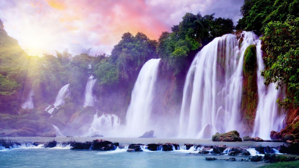 landscapes digital art waterfalls wallpaper