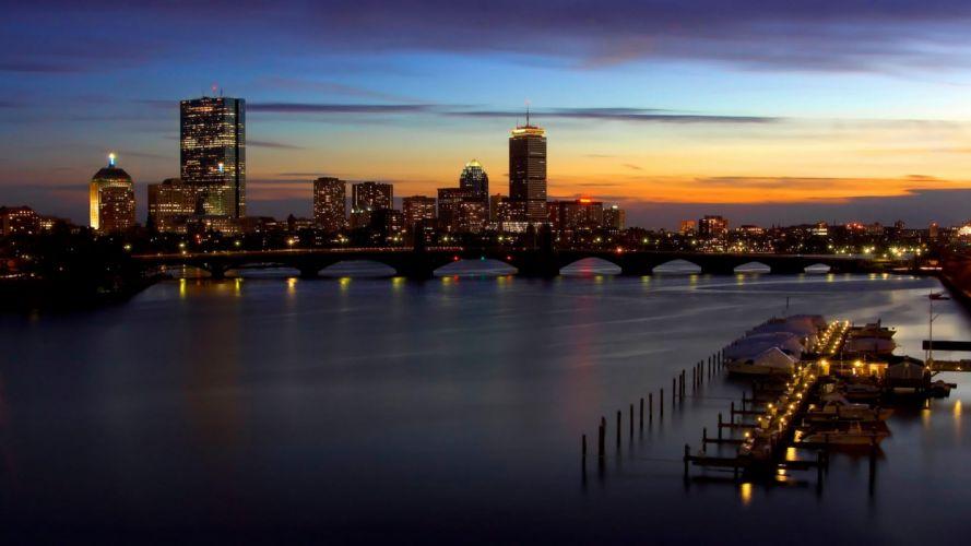 cityscapes skylines Boston wallpaper