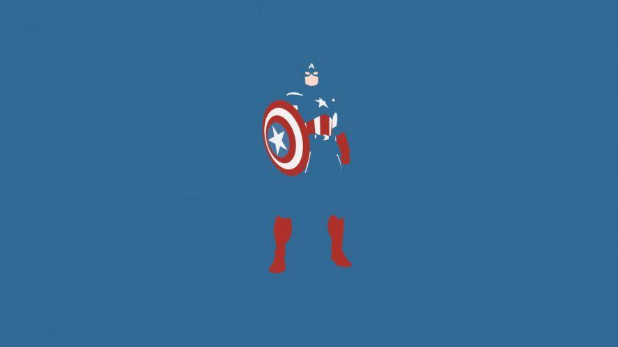minimalistic comics Captain America blue background wallpaper