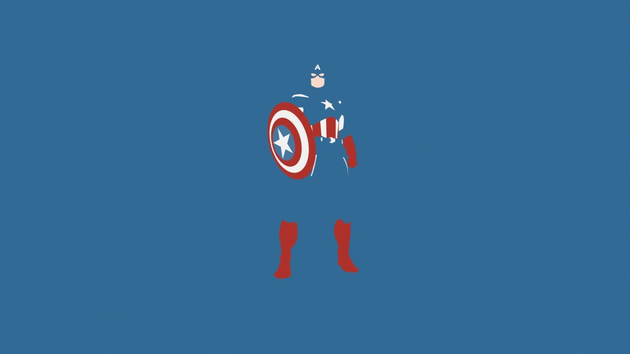 minimalistic comics Captain America blue background wallpaper