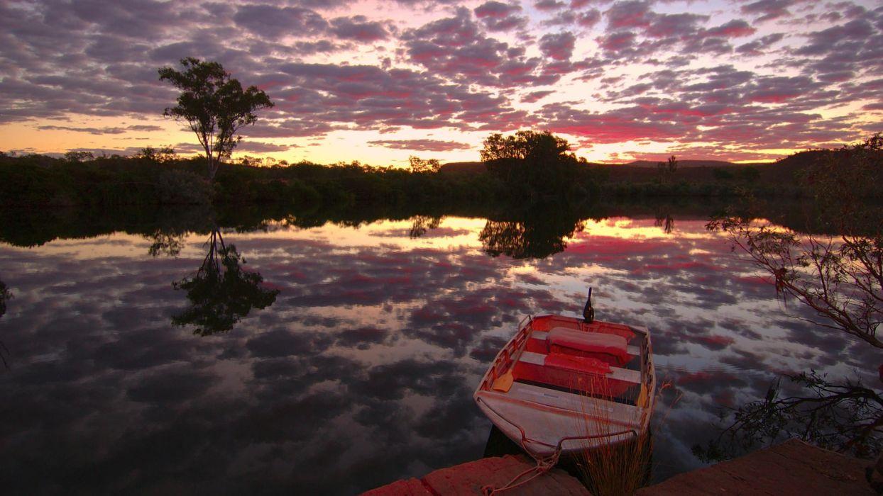 sunset nature station Australia rivers Chamberlain wallpaper
