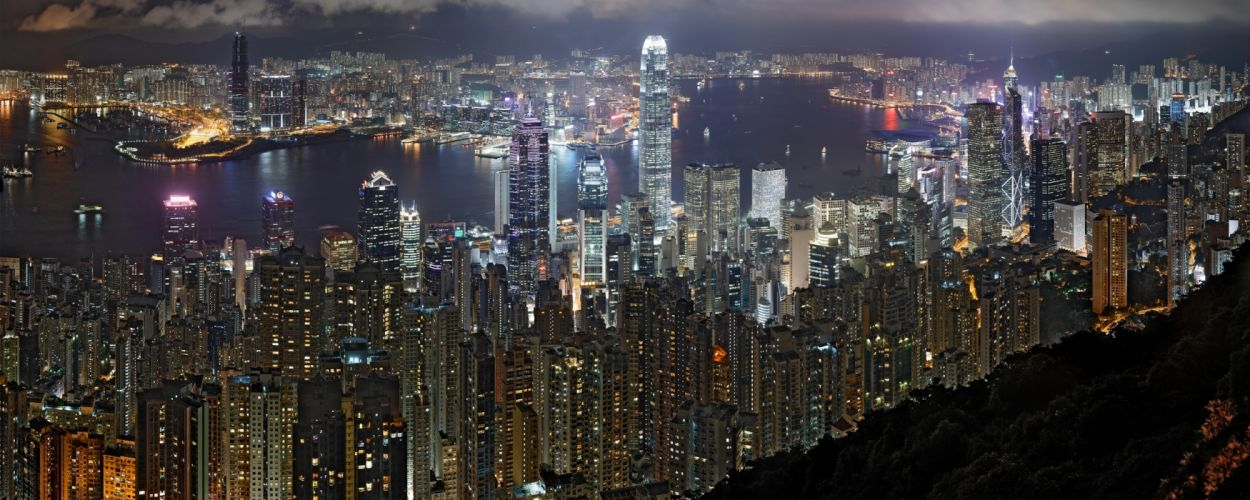 cityscapes night architecture buildings Hong Kong wallpaper