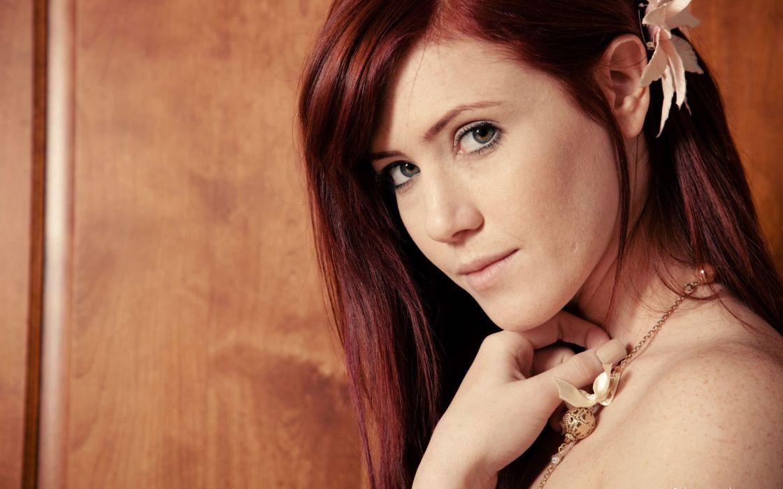 women redheads models Elle Alexandra faces Art-Lingerie magazine flower in hair wallpaper