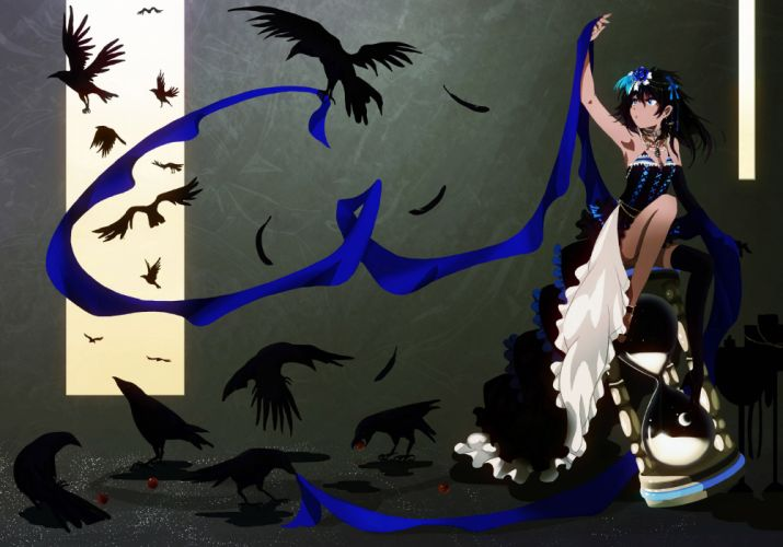 animal bird black hair blue eyes dress flowers funakura gloves jpeg artifacts long hair original thighhighs wallpaper