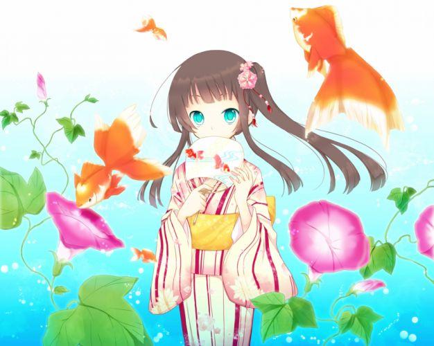 animal aqua eyes brown hair fish flowers goma (11zihisin) japanese clothes kimono original water wallpaper