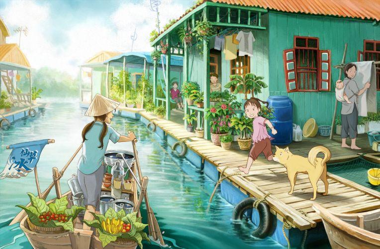animal barefoot boat brown hair dog fruit hat original shite kudasai water wallpaper