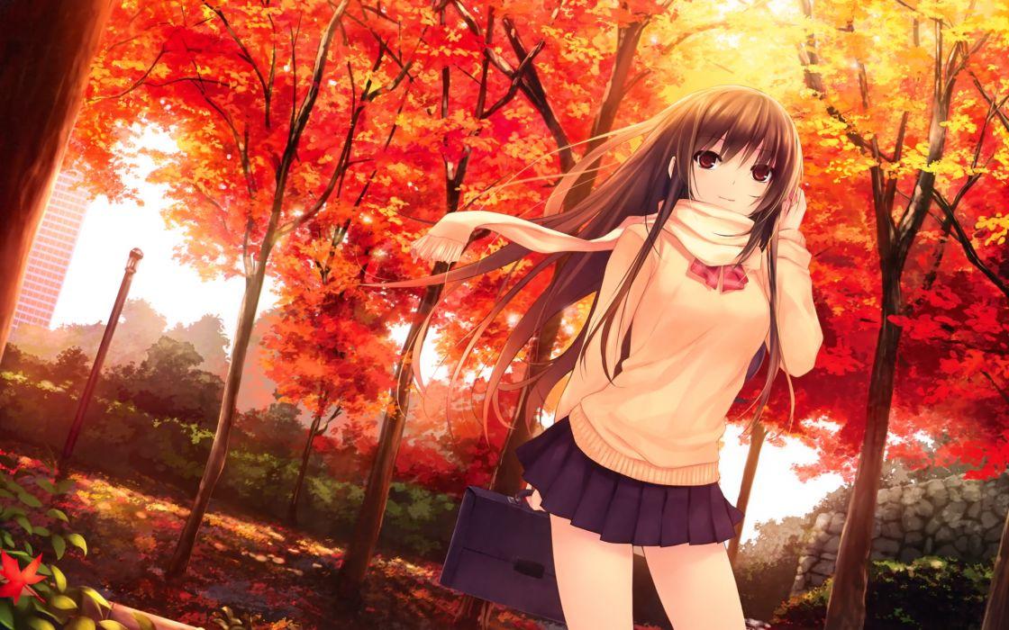 autumn brown eyes brown hair coffee-kizoku leaves long hair original saki scan scarf seifuku tree wallpaper