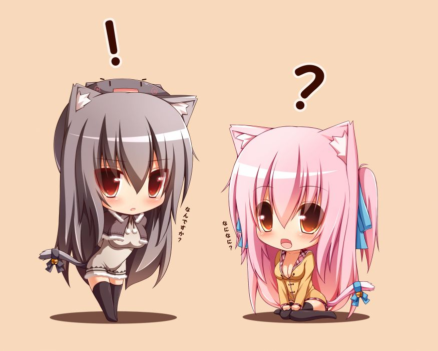 animal ears black hair catgirl chibi cleavage mia (syroh) orange original pink hair shia (syroh) syroh tail thighhighs wallpaper