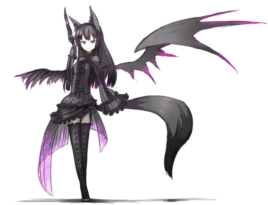 animal ears black hair foxgirl long hair original purple eyes shiroganeusagi tail weapon wings wallpaper