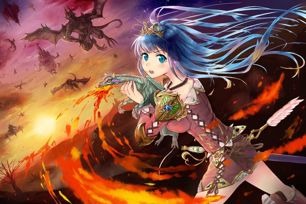 blue eyes blue hair dragon fire juu_ original sword tagme weapon wallpaper