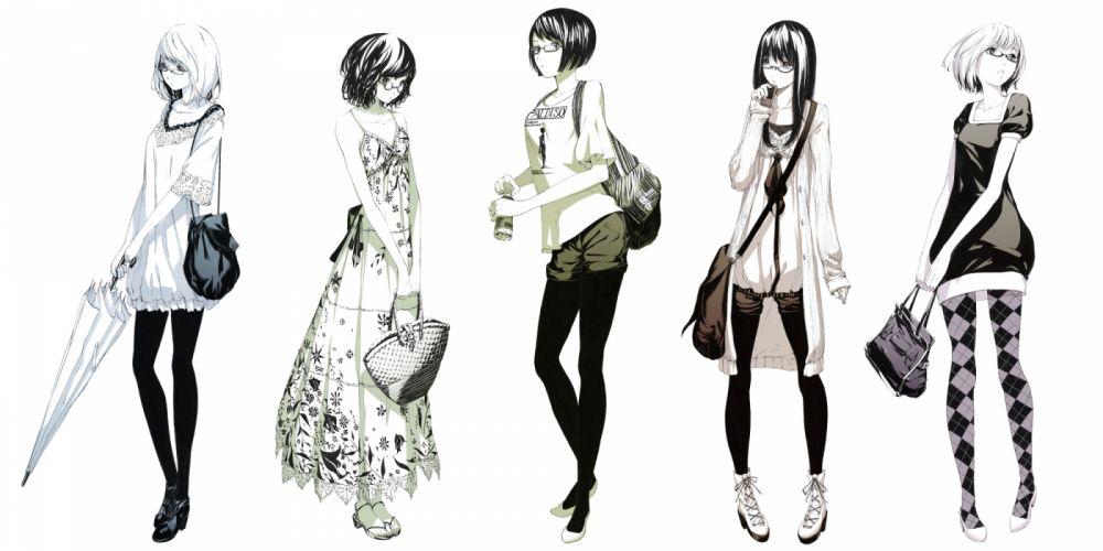 boots glasses original pantyhose polychromatic sawasawa short hair umbrella wallpaper