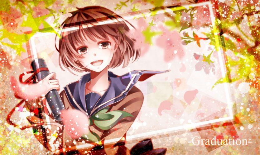 brown eyes brown hair crying nou original petals seifuku short hair wallpaper