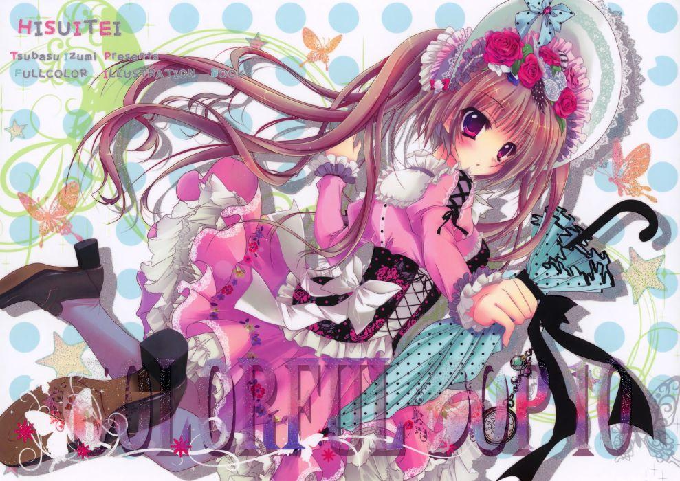 brown hair butterfly dress flowers hat hisuitei izumi tsubasu long hair original thighhighs twintails umbrella wallpaper