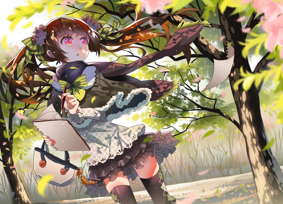 brown hair flowers long hair original petals pink eyes scarf skirt thighhighs tree tsukii twintails wallpaper