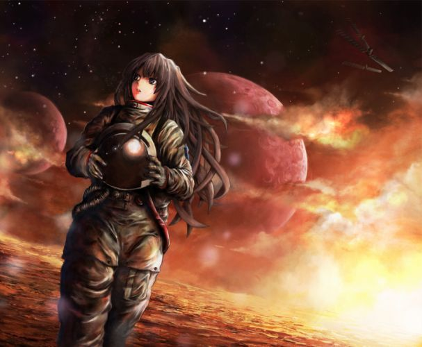 black eyes brown hair clouds long hair original planet seafh stars wallpaper