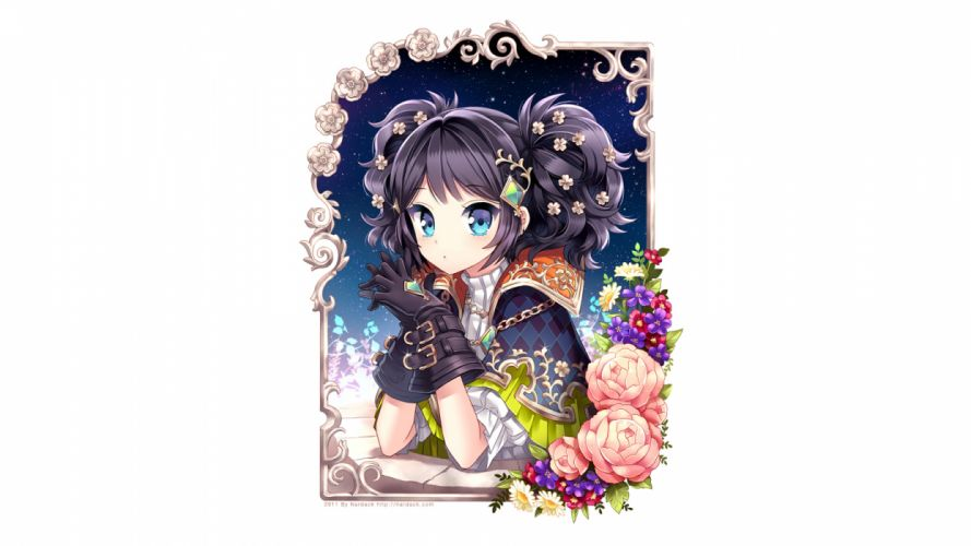 black hair blue eyes flowers gloves nardack necklace night original stars twintails white wallpaper