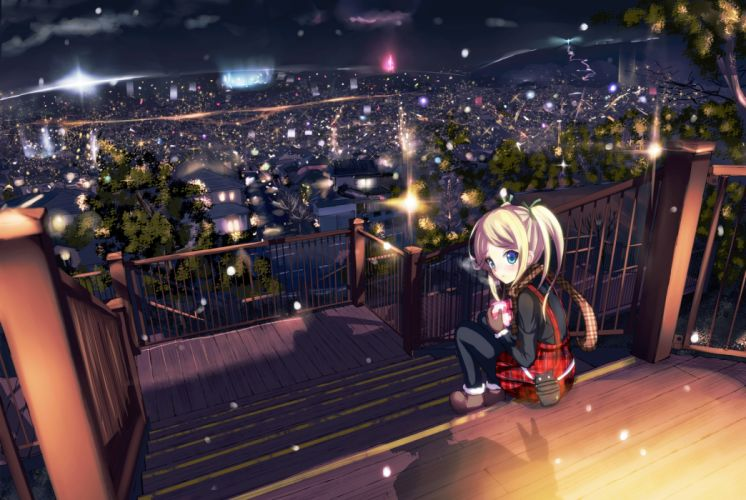 blonde hair blue eyes blush boots city morerin night original pantyhose scarf sky tree twintails valentine wallpaper