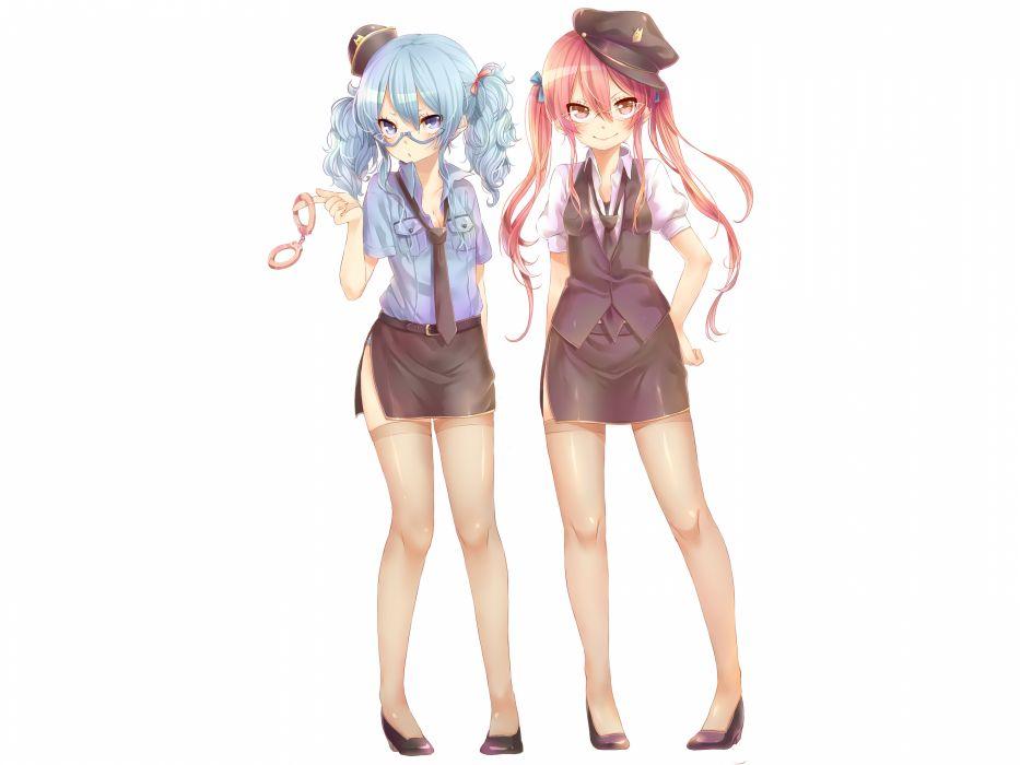 girls aihara kaori blue hair glasses handcuffs hat momo bako original pantyhose red hair rojiko stockings tie white wallpaper