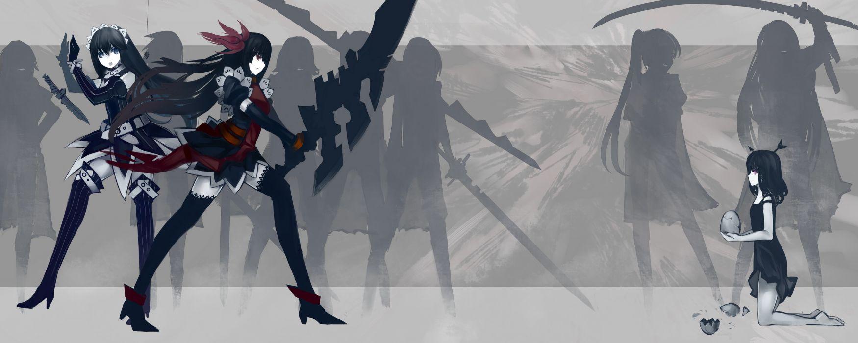 girls black hair blue eyes boots katana kiwamu knife original ponytail purple eyes red eyes sword thighhighs weapon wallpaper