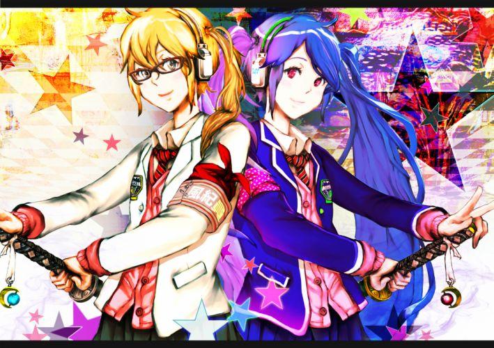 girls blonde hair glasses headphones katana long hair original red eyes seifuku skirt sword twintails weapon wyx2 wallpaper