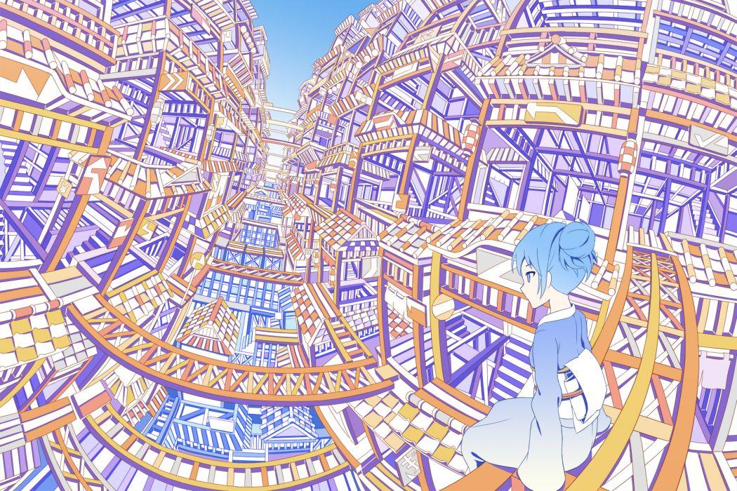 building hebitsukai original polychromatic wallpaper