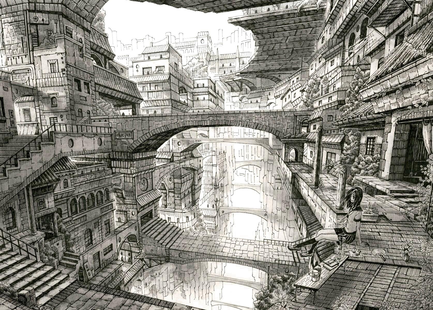Building mitauzo monochrome original scenic sketch - Sketch anime wallpaper ...