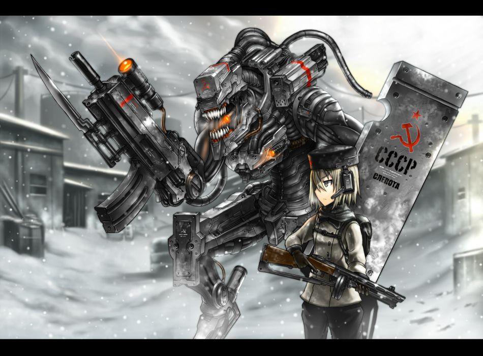 Konachan_com - 128985 gia gun hat original snow tagme weapon mecha wallpaper