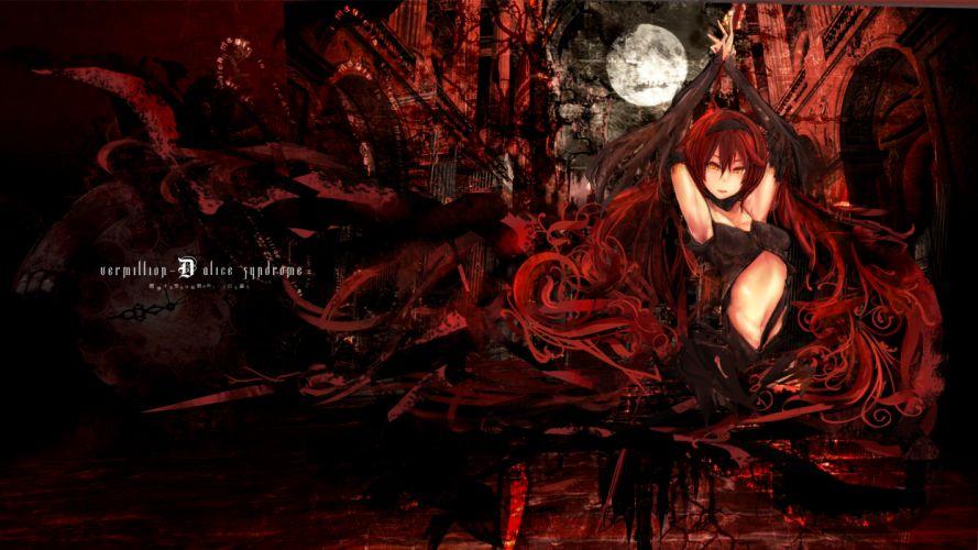 moon original red hair rib-y(uhki) tagme wallpaper