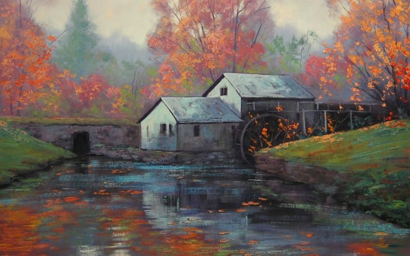 art drawing river forest the water Wheel artsaus wallpaper