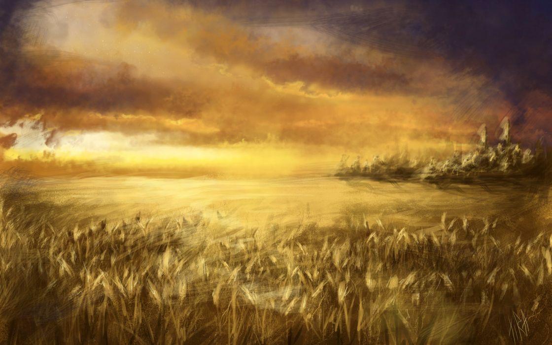 art  field  wheat  ears  sky  clouds wallpaper