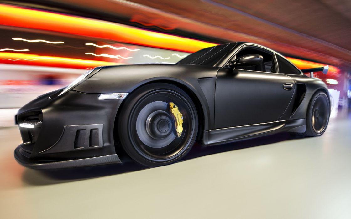 Porsche  Techart  Gt  R Street  black  super car  tuning  speed  blur  lights wallpaper