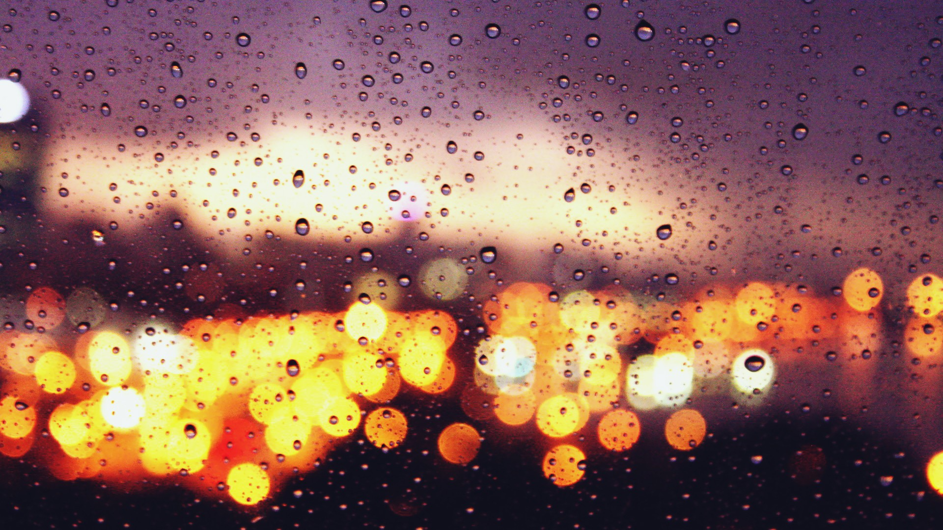 Bokeh Lights Glass Car Drops Water Rain Wallpaper