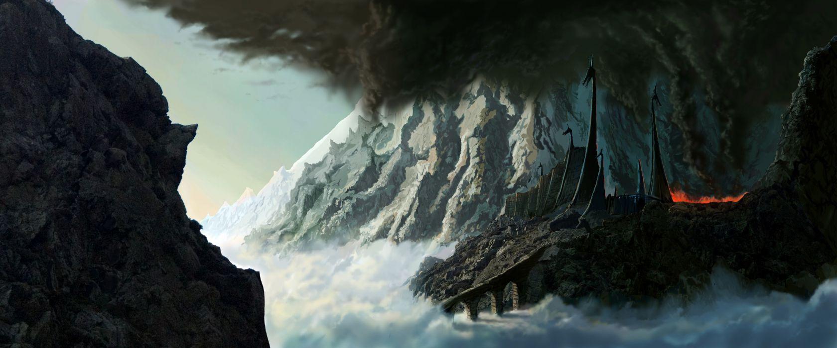 mountains fortress fantasy art Silmarillion JRR Tolkien wallpaper
