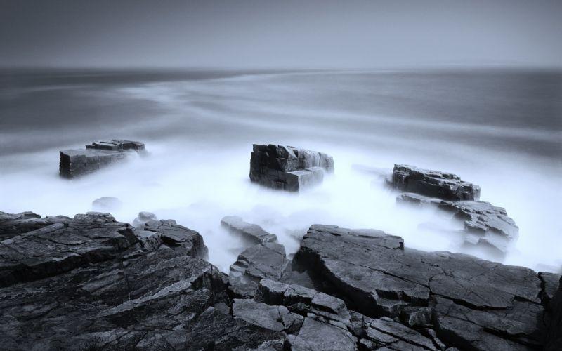 nature rocks mist wallpaper