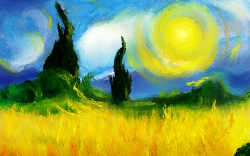 paintings clouds nature Sun trees fields impressionist painting wallpaper