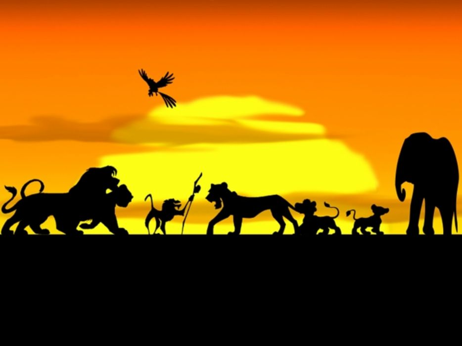 sunset Disney Company silhouettes The Lion King wallpaper