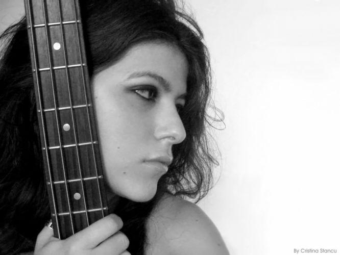women music bass grayscale instruments guitars wallpaper