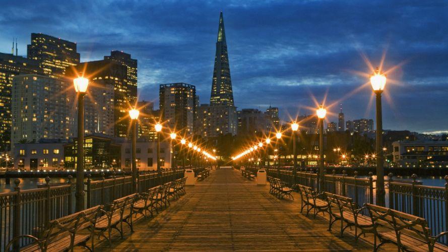 pier California San Francisco dusk wallpaper