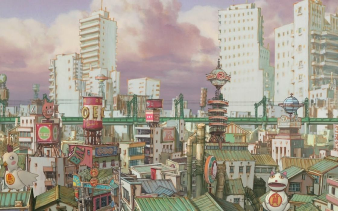paintings cityscapes buildings wallpaper