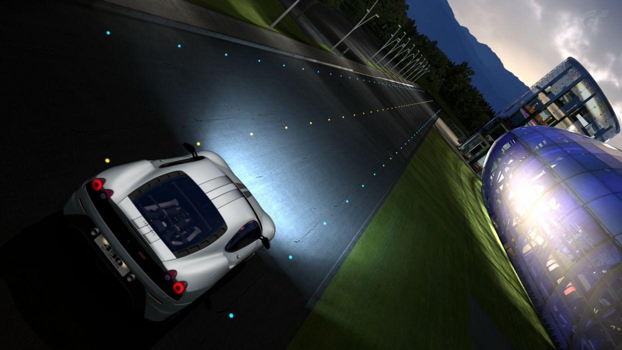 video games cars Gran Turismo 5 PS3 Ferrari F430 Scuderia Red Bull's Hangar wallpaper