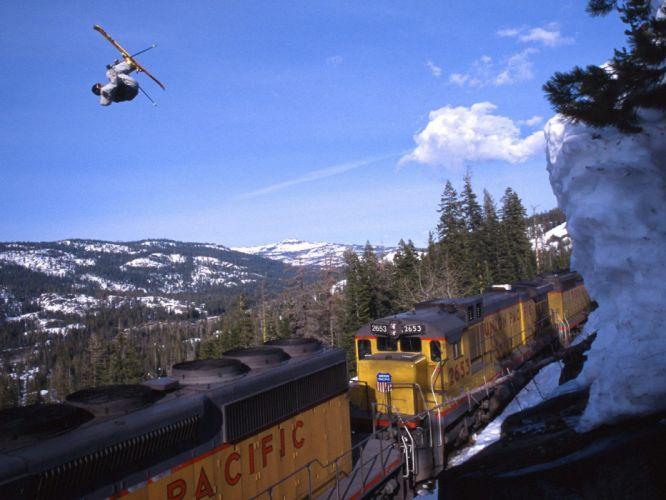 nature snow trains ski stunt wallpaper