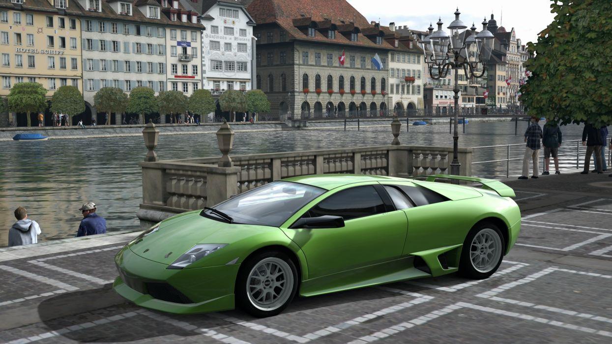 cars Lamborghini Italian supercars Lamborghini Murcielago Gran Turismo 5 Playstation 3 green cars GT5 wallpaper