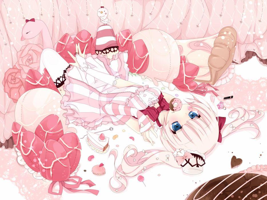animal bird blue eyes bow dress flowers food original petals pink hair sakuragi yuzuki twintails wallpaper