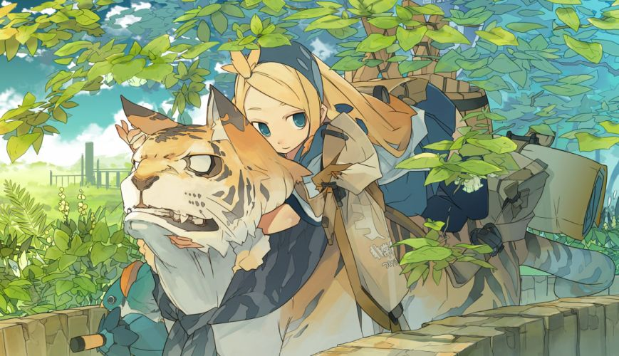 akitsu taira blonde hair blue eyes original thighhighs tiger tree wallpaper