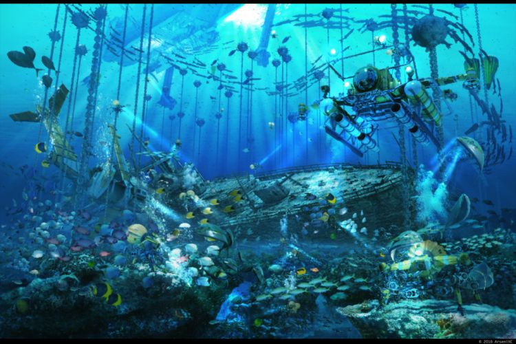 animal arsenixc boat bubbles chain fish original scenic underwater water wallpaper