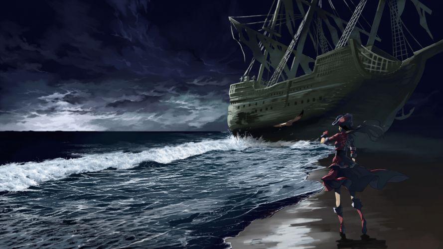 animal bird black hair boat boots dress gloves hat justminor long hair original pirate water wallpaper
