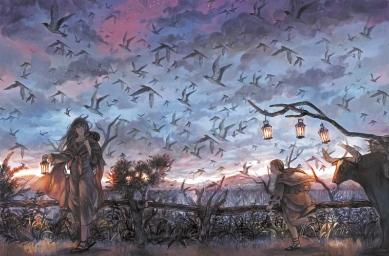 animal bird clouds landscape original scenic shimetta oshime sky tree wallpaper