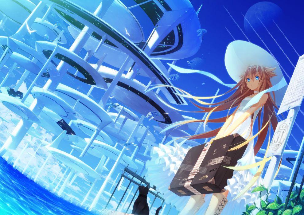 animal blonde hair blue eyes boots cat choker hat itsuwa (lethal-kemomimi) long hair original sky summer dress wallpaper