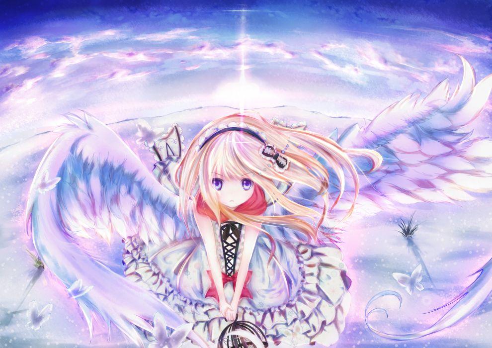 animal blonde hair blue eyes bow butterfly clouds dress headband hizo (hizoo) long hair original scarf sky snow wings wallpaper